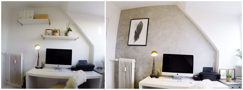 Før og efter billeder efter kontorvæggen er blevet behandlet med Conteco