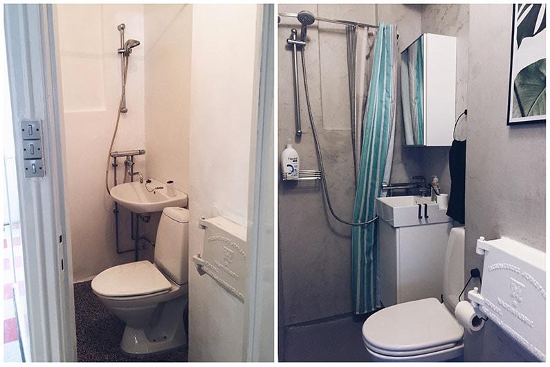Sammenligning til inspiration med et moderne beton badeværelse i den ene side