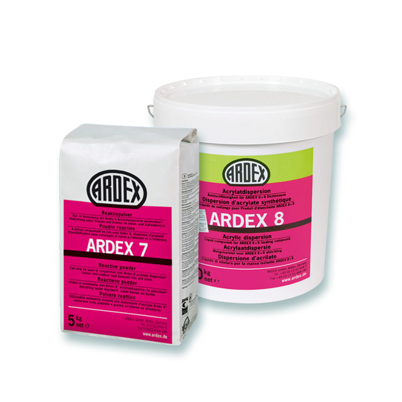 Ardex tætningsklæber, reaktivpulver ardex 7, acrylatdispersion ardex 8