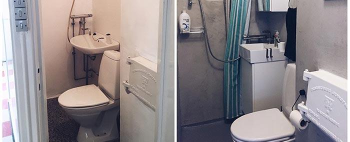 Sammenligning badeværelse før og efter med Conteco beton uden brug af microcement