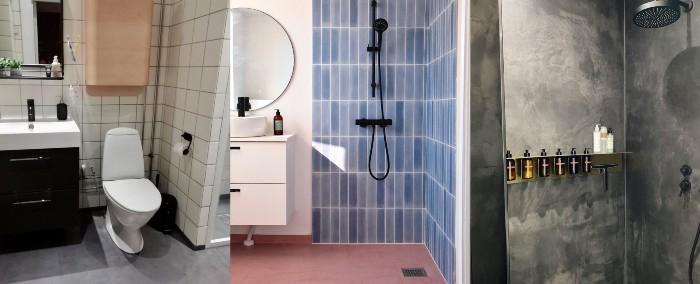 Tre billede af badeværelser med diy beton
